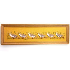 Vintage 70's Crewel Running Birds Framed